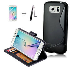BLACK Wallet 4in1 Accessory Bundle Kit S TPU Case For Samsung Galaxy S6 Edge