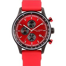 Lars Larsen Storm 133CRRS Red Silicone Band Stainless Steel Case Men's Watch