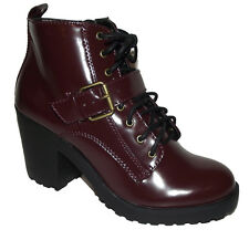 NEW Burgundy wine LACE UP chunky heels combat Military bootie ankle BOOTS Sz 8