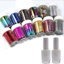12 Colors Nail Art Transfer Foil Sticker For Nail Tips Decoration & 2 Glue Set