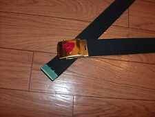 US MILITARY STYLE BLACK WEB BELT WITH 3RD MARINE CORPS BRASS BUCKLE U.S.A MADE