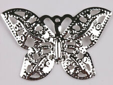 50Pcs Filigree Hollow Out Metal Butterfly Charm Pendants Jewelry Finding Crafts