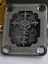 Chrome Engraved Cross Guitar Neck Plate  fits Fender tele/strat/squier