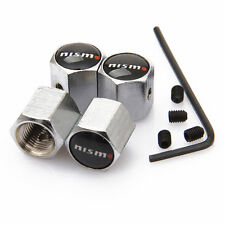 Nismo Black Anti theft Metal Chrome Tyre Valve Dust Cap