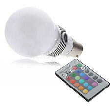 B22 3W RGB Color Changing LED Light Bulb Party Club Lamp with Remote Control