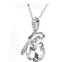 Women's Fashion Jewelry Heart Crystal Rhinestone Silver Chain Pendant Necklace