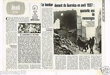 Coupure de presse Clipping 1983 (2 pages) Bombardement Guernica Avril 1937
