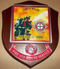 North Wales Fire and Rescue Service wall plaque personalised free of charge.