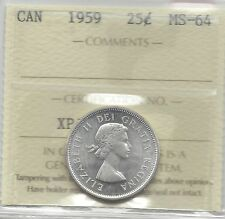 **1959**, ICCS Graded Canadian, Silver 25 Cent, **MS-64**