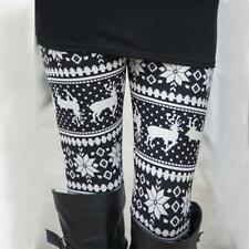 Women Xmas Snowflake Reindeer Knitted Leggings Skinny Pencil Pants Trousers Slim