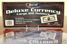 25 LARGE BCW DELUXE CURRENCY Dollar Bill Banknote Paper Holders SEMI RIGID