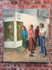 Susan Kahn New York City Social Realist Oil On Canvas Painting. Signed. 1980