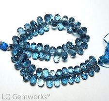 """8"""" LONDON BLUE TOPAZ 7-9mm Faceted Teardrop Beads AAA /d3"""
