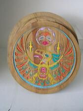 "Authentic Signed Haida Round Drum Box Clarence A. Wells TWO LIDS 10.5"" x 3.5"""