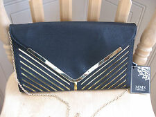 NWT MMS Design STUDIO black gold chain envelope clutch purse Leather look