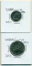 2 NICE COINS from CANADA - 10 CENTS w/ SHIP and 25 CENT w/ CARIBOU (BOTH 2011)