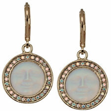 NEW KIRKS FOLLY SEAVIEW MOON PAVE LEVERBACK EARRINGS GOLDTONE/CRYSTAL AB