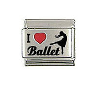 "9mm Classic Size Italian Charms L62 - I ""Heart"" Love  Ballet"