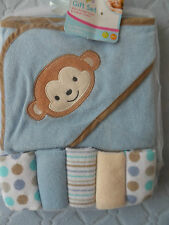 HOODED BABY TOWEL AND 5 WASHCLOTHS  MONKEY
