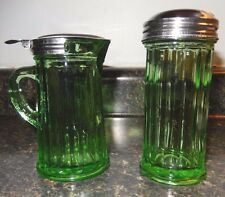 Green Depression Glass Paneled Cream & Sugar Metal Lids~VGC+~Fast Shipping!