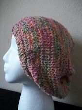 Hand knitted soft beanie/hat, beret type, pink/sage/orange pastel tones