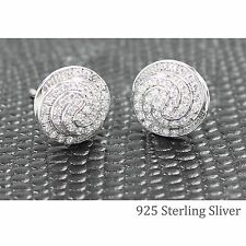 MICRO PAVE CLEAR CZ STERLING SILVER STUD EARRINGS 925 STUD BLING