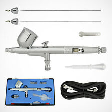 NEW PRO Gravity Feed Dual-Action Airbrush Kit Hobby Set w/ 6ft Air Hose & 3 Tips