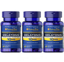 THREE(3X) Puritan's Pride Melatonin 10 mg total 180 caps Improve Sleep Quality
