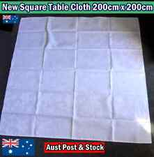 New Square Table Cloth 200cm x 200cm - White with Subtle Flower Pattern