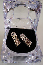 Silver Finish Unisex Clear  Lab Crystal OBAMA Earring Stud  with box