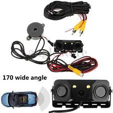 3IN1 Video Parking Sensor Car Reverse Backup Rear View Camera Radar Detector US