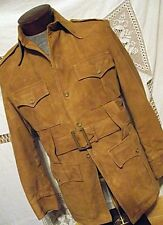 ATOMIC Vtg Robert Lewis Mens Safari Jacket Suede Doeskin Leather 38 Sm Belted