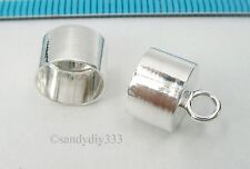 2x BRIGHT STERLING SILVER 8mm cord PLAIN LEATHER END CAP N457