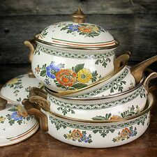 VINTAGE German/Dutch Fissler ASTA Brass Handle Floral Enamel Cookware Set 7 pc