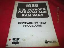 1986 2.2L Voyager Caravan Ram Vans Driveability Test Procedure Manual
