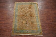 Brown 6X10 Antique Circa 1890 Indian Agra Oriental Hand Knotted Wool Area Rug