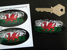 WELSH Flag Fade to Black Oval Car Motorcycle Stickers 75mm WALES Dragon Cymru