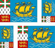 Set of 4x sticker vinyl car bumper decal car moto flag Saint Pierre and Miquelon