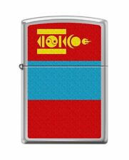Zippo 0682, Mongolia Flag, High Polish Chrome Finish Lighter, Full Size