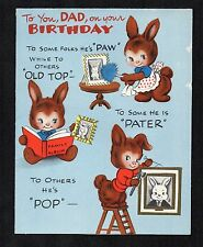 Vintage American Greetings Birthday Card Dad Bunny Rabbit