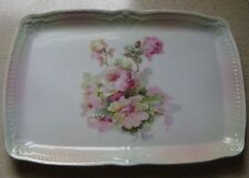 Victorian German Porcelain Perfume Tray w Cabbage Roses French Country Cottage