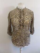 Zara Leopard Print Chiffon Blouse Size M Box4649 H