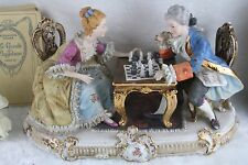 Gorgeous XL french porcelain bisque Figurines group playing chess 1950