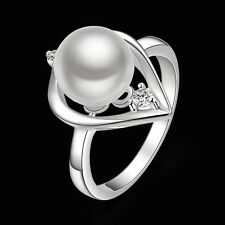 925 Sterling Silver Pearl Zirconia Ring Size 8 B15