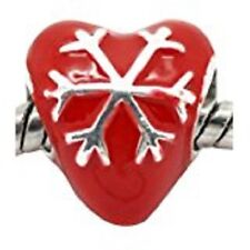 Red Heart with Snowflake Charm Bead - PAN072