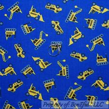 BonEful Fabric FQ Cotton Quilt Blue Yellow Construction Monster Digger Truck Boy