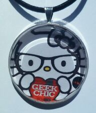 "Hello Kitty "" GEEK CHIC"" Glass pendant with leather necklace!"