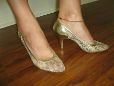 GORGEOUS VINTAGE STUART WEITZMAN FOR MARTINIQUE LACE SHOES WEDDING PROM 6 6.5