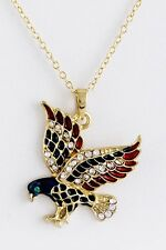 PATRIOTIC 4TH OF JULY RED, WHITE & BLUE RHINESTONE GOLD TONE EAGLE NECKLACE