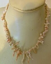 VINTAGE CORAL  NECKLACE / COLLIER EN CORAIL BLANC et ROSE VERITABLE-N°5